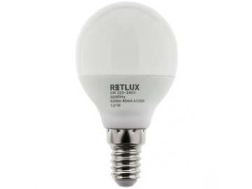 LED žárovka Retlux RLL 274 G45 E14 miniG 5W CW kulatá baňka