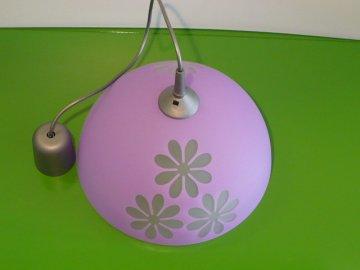 Lustr skleněný fialový s květy