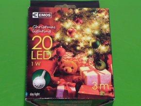 Vánoční osvětlení - stříbrná koule teplá bílá 20 LED 3m ZY1407