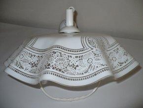 Lustr kuchyňský stahovací s madlem, plast, bílošedý motiv krajka