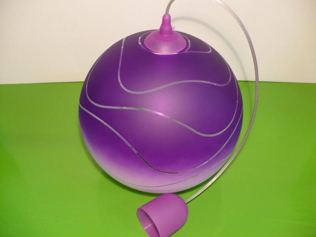 Lustr skleněný koule fialový E27 průměr 30cm v. 98cm