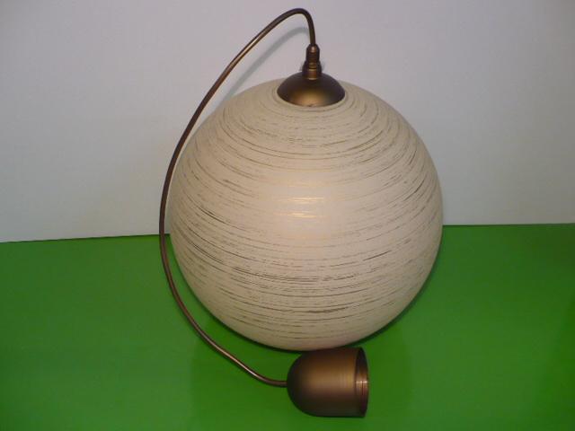 Lustr skleněný koule zlatý E27 průměr 30cm v. 98cm