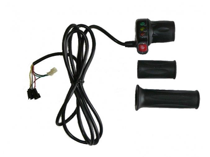 Otočný akcelerátor s vestavěným indikátorem stavu nabití akumulátoru (pro jmenovité napětí 36V nebo 48V)