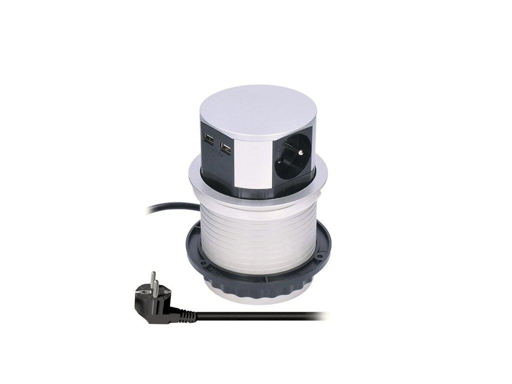 Solight PP100USB výsuvná zásuvka 3x 230V, 2xUSB