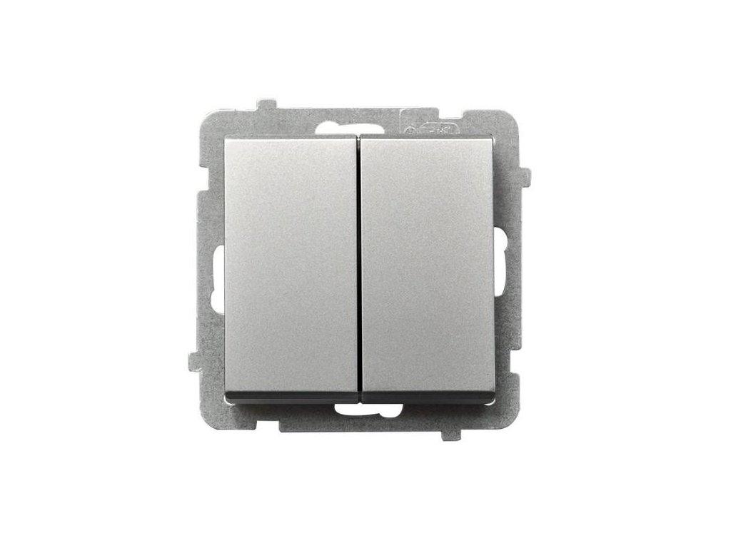 OSPEL Sonáta přepínač dvojitý schodišťový stříbrný