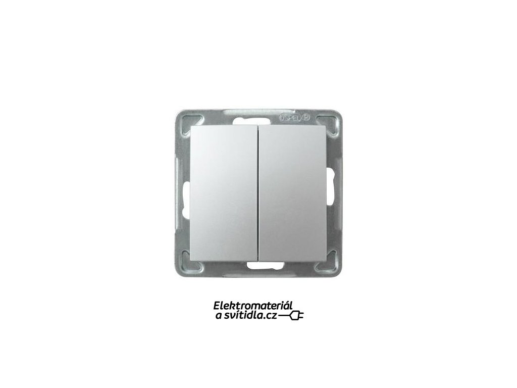 OSPEL Impresja přepínač dvojitý schodišťový stříbrný