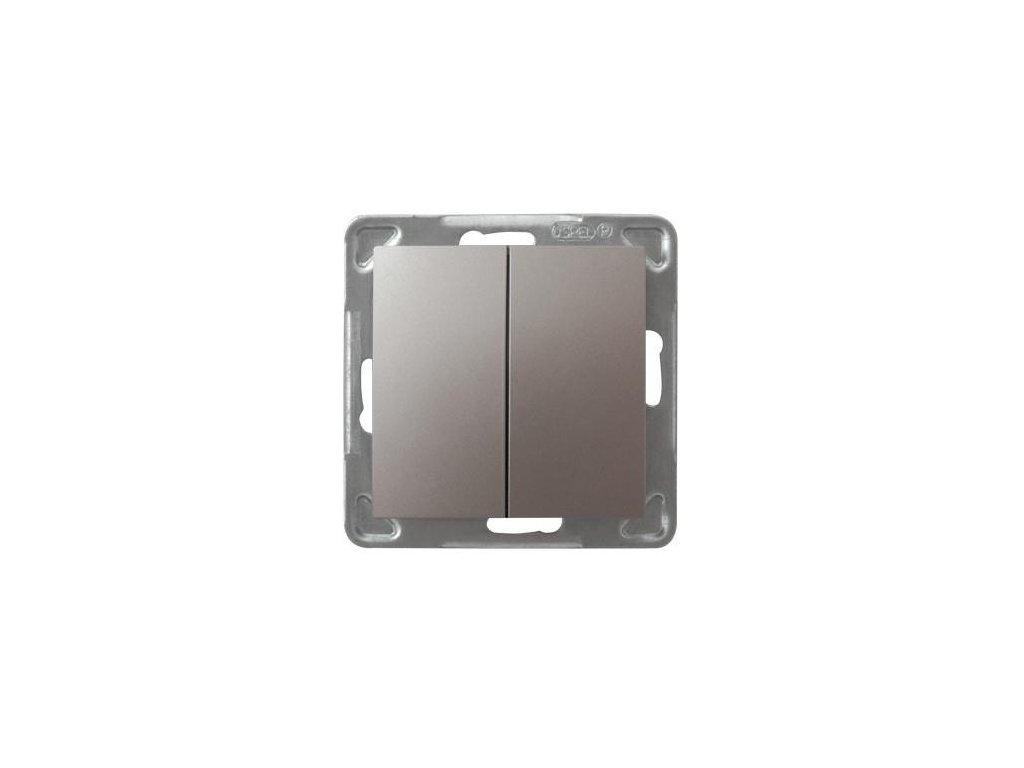 OSPEL Impresja přepínač dvojitý schodišťový titan