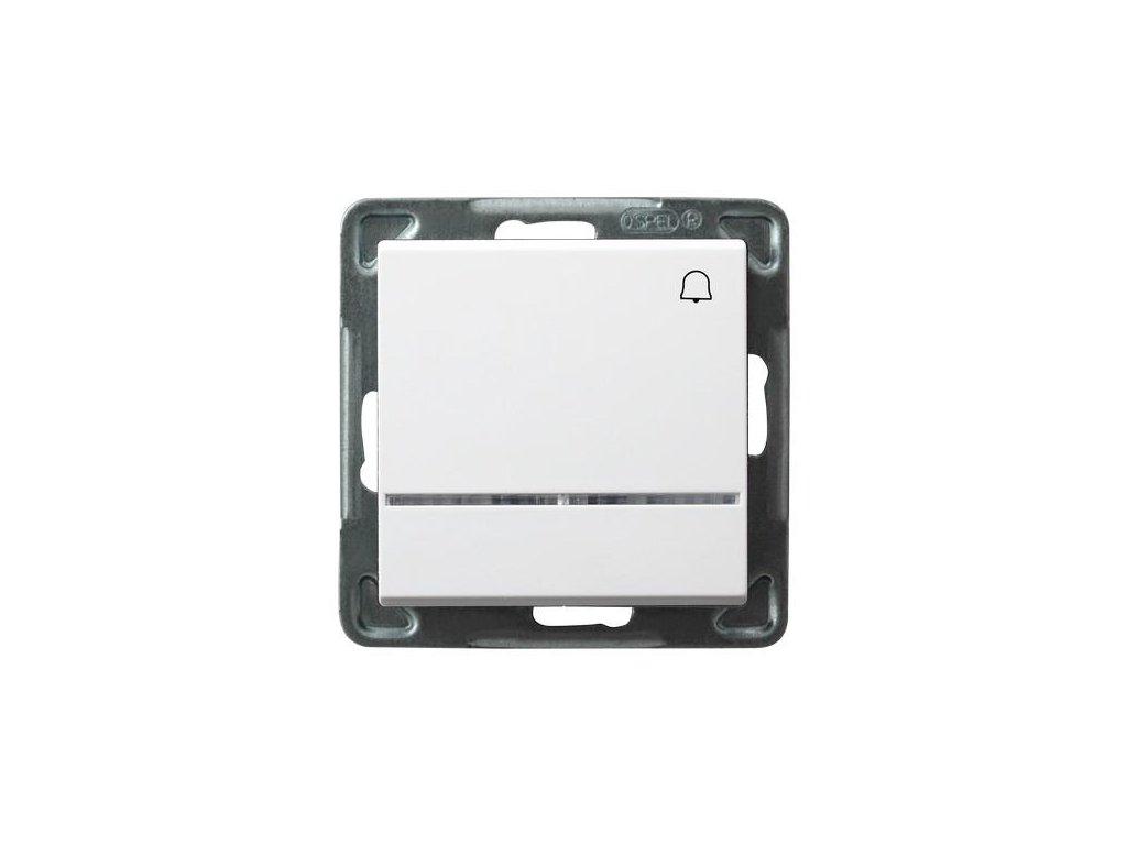 OSPEL Sonáta tlačítko zvonkové s podsvětlením bílý