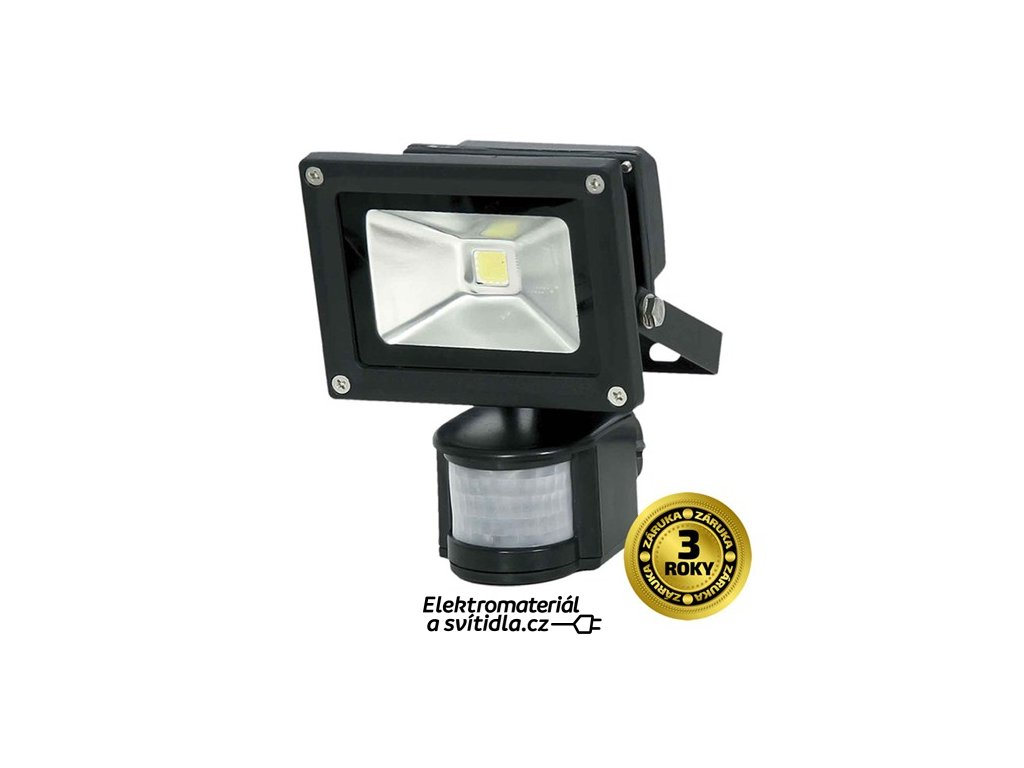 Solight REFLEKTOR LED 10W PIR černý, 800lm, 6000K