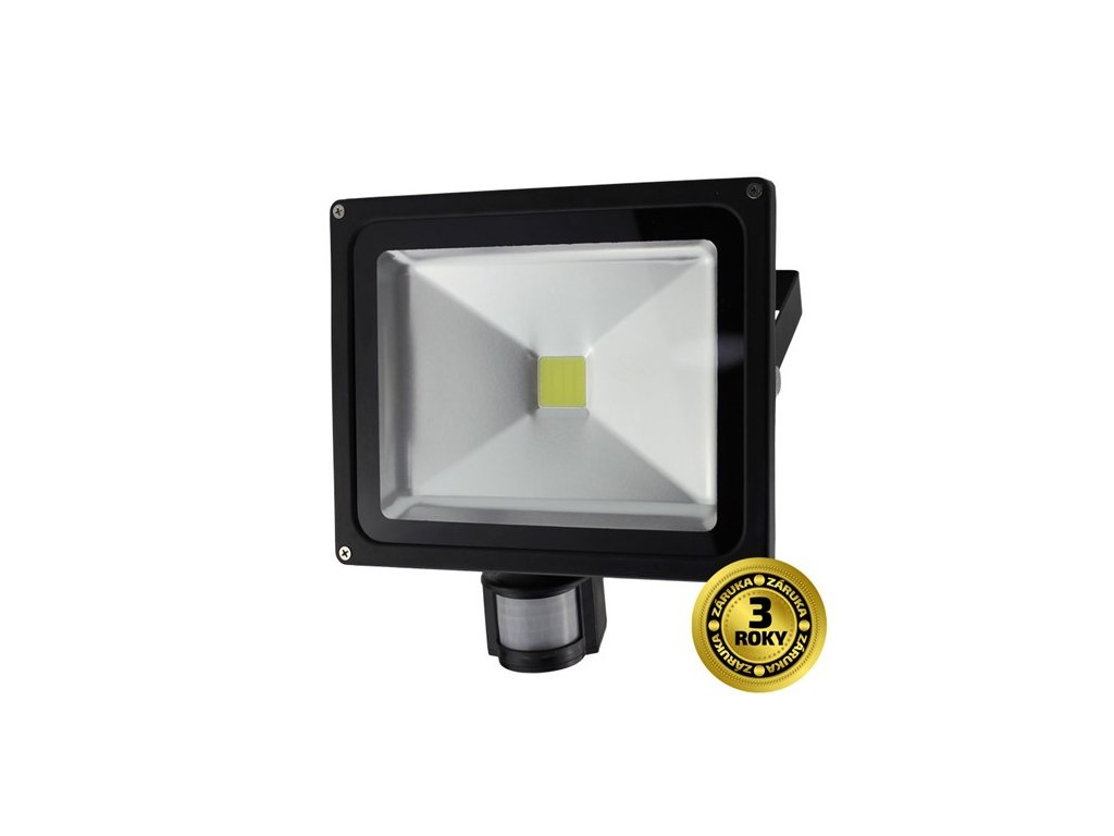 Solight REFLEKTOR LED 30W PIR černý, 2400lm, 6000K