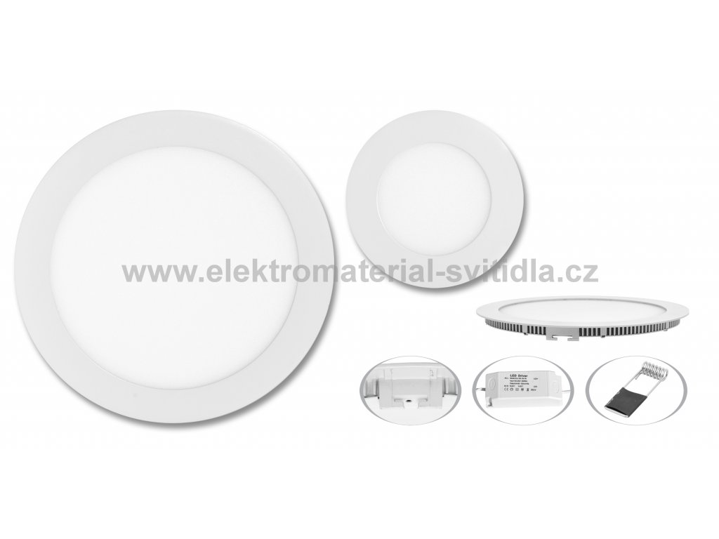 Ecolite LED WSL-12W/4100K, vestavné, bílé, ø 17,5cm