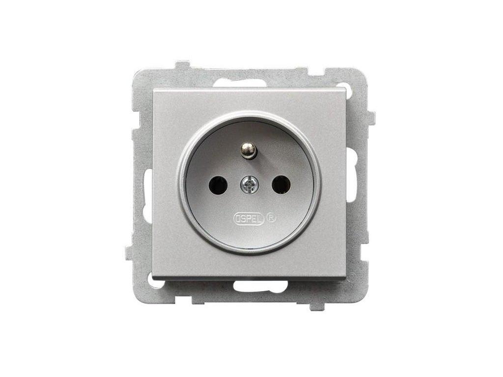 OSPEL Sonáta zásuvka jednoduchá stříbrná