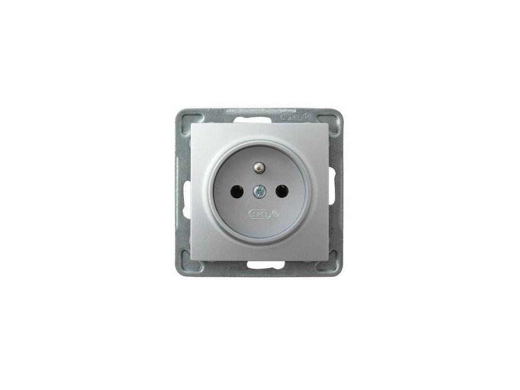 OSPEL Impresja zásuvka stříbrná