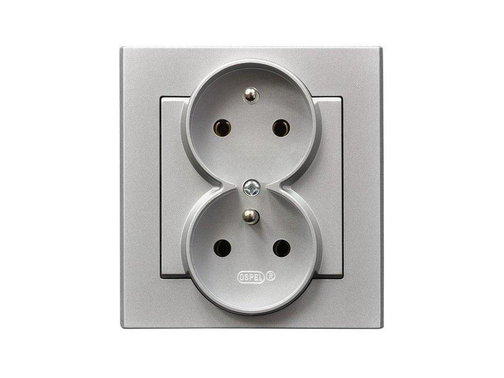 OSPEL Sonáta dvojzásuvka stříbrná