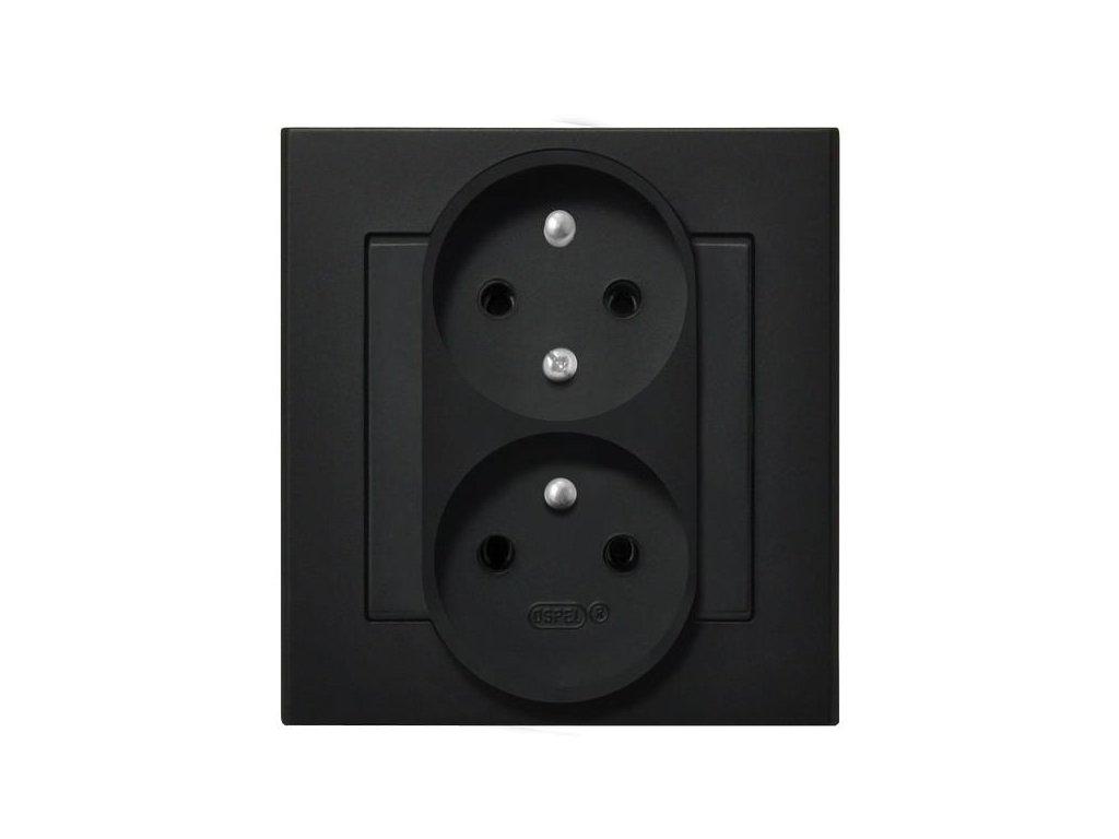OSPEL Sonáta dvojzásuvka černá