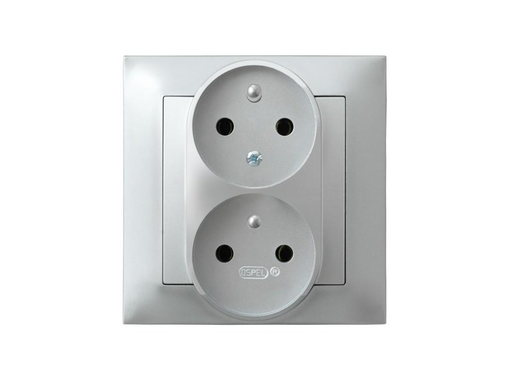 OSPEL Impresja dvojzásuvka stříbrná