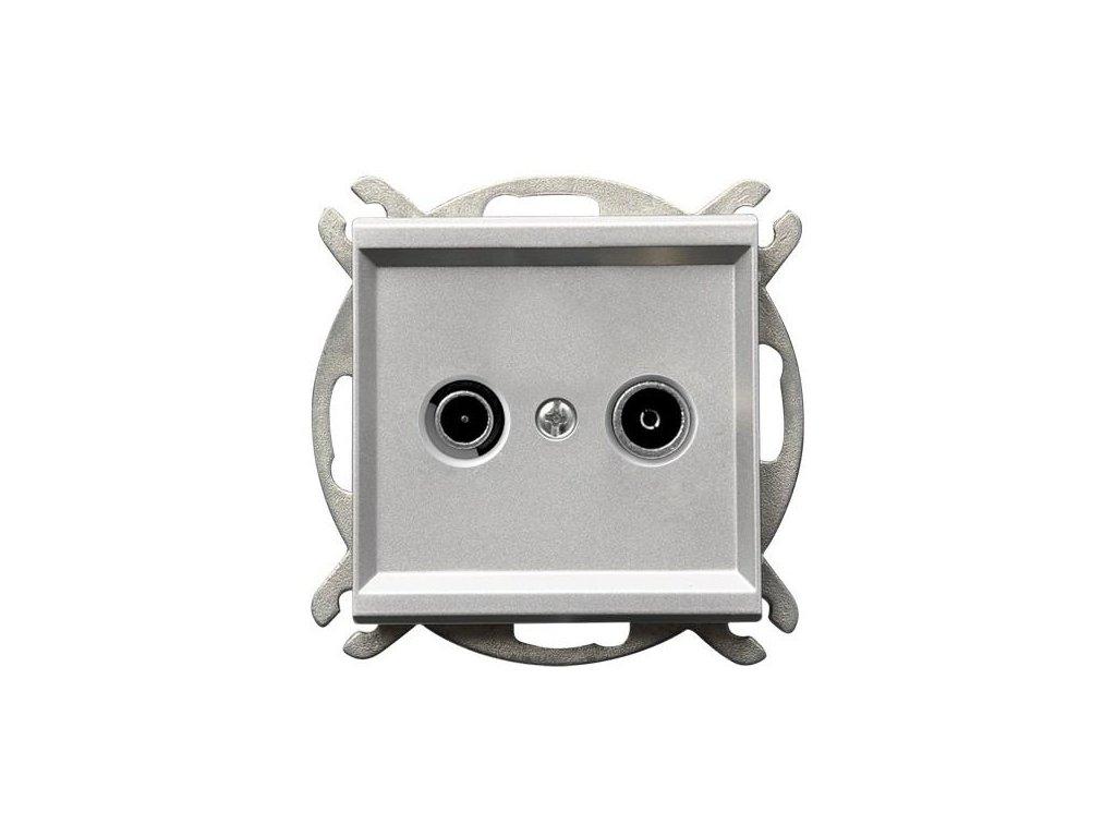 OSPEL Sonáta zásuvka televizní, rozhlasová průběžná stříbrná