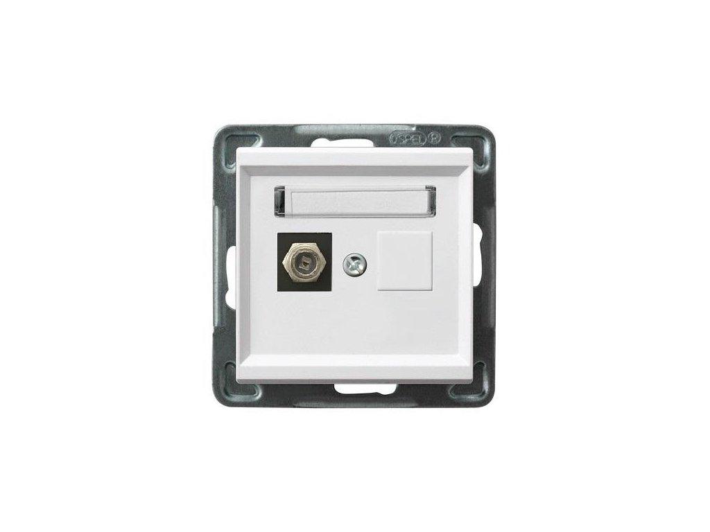 OSPEL Sonáta zásuvka televizní koncová bílá