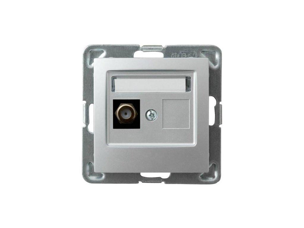 OSPEL Impresja zásuvka televizní koncová stříbrná