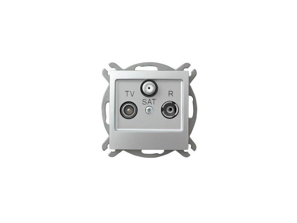 OSPEL Impresja zásuvka televizní, rozhlasová a satelitní koncová stříbrná