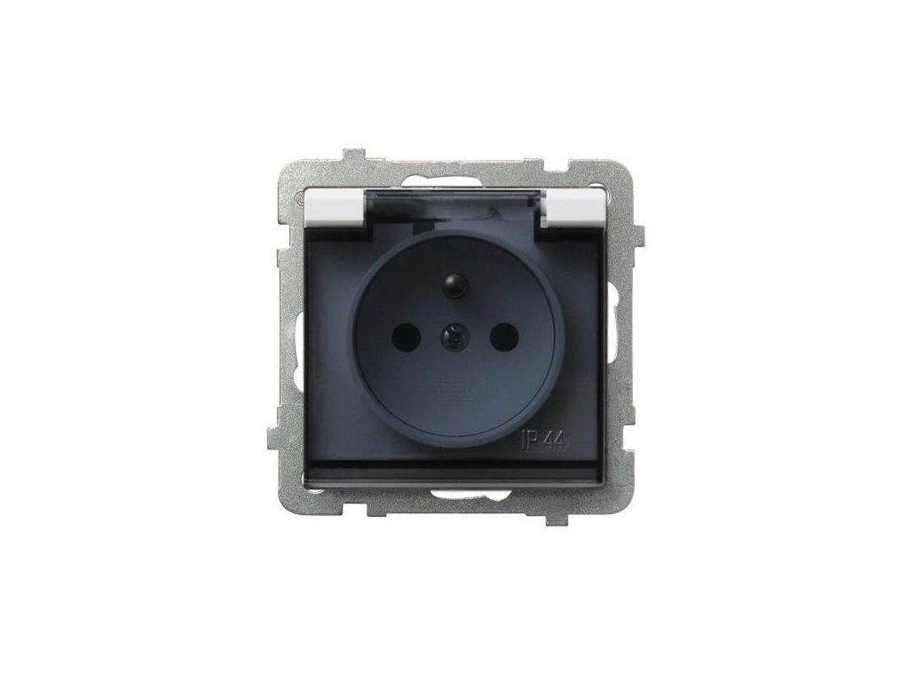 OSPEL Sonáta zásuvka bílá s kouřovým víčkem