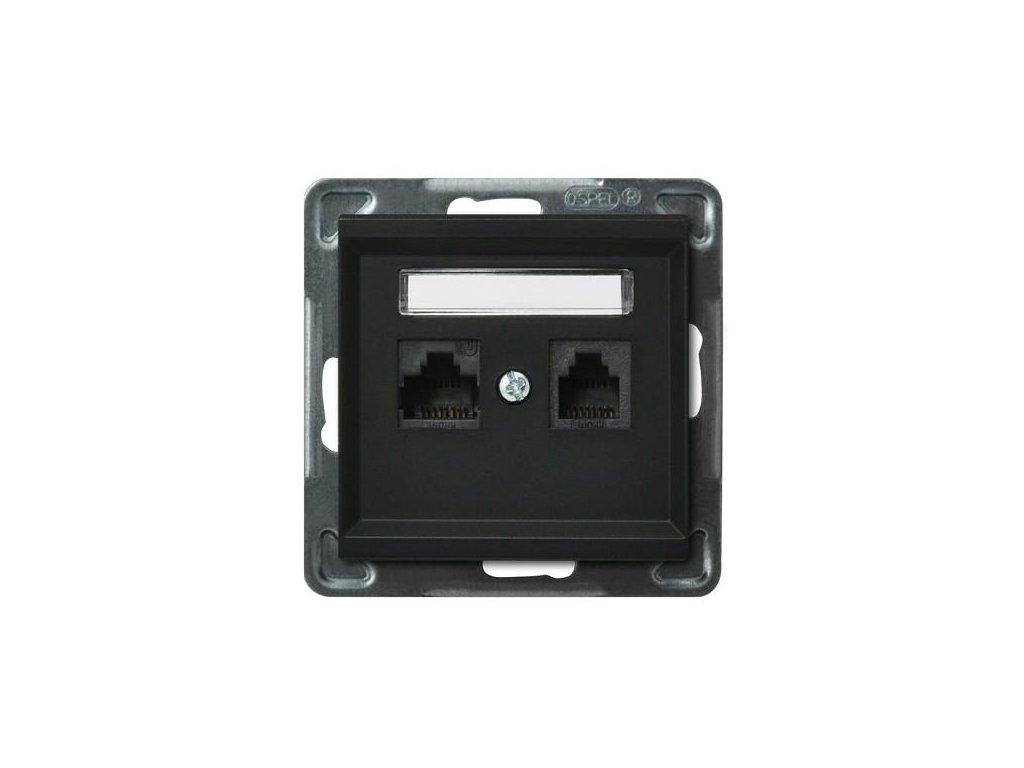 OSPEL Sonáta zásuvka datová a telefonní černá