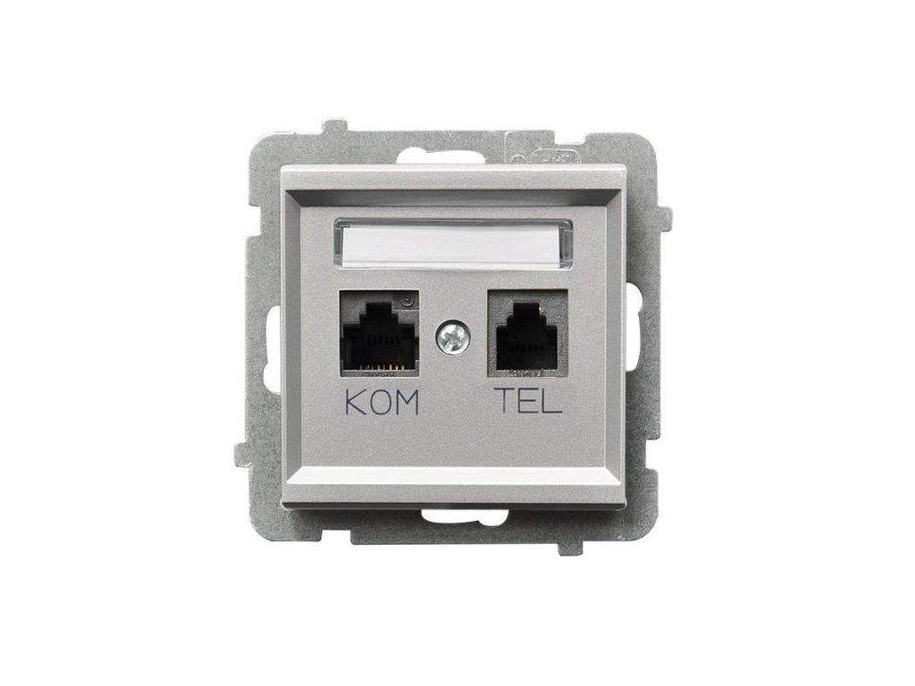 OSPEL Sonáta zásuvka datová a telefonní stříbrná