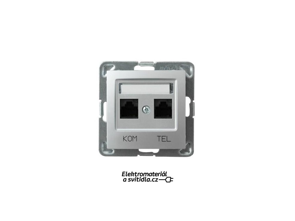 OSPEL Impresja zásuvka telefonní a datová stříbrná