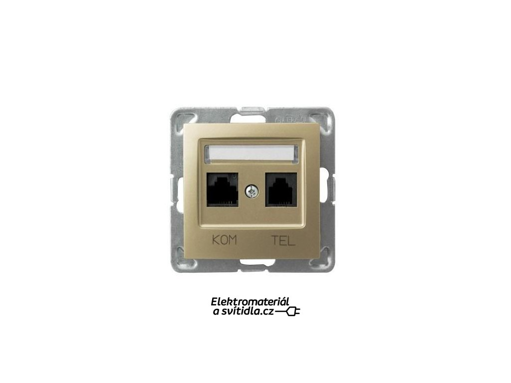 OSPEL Impresja zásuvka telefonní a datová zlatá