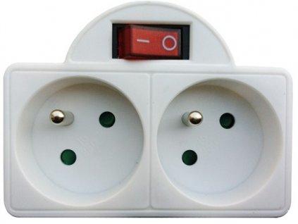 Solight P97, rozbočka, 2x 10A, bílá, vypínač