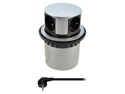 Solight PP100 výsuvná zásuvka 4x 230V stříbrná