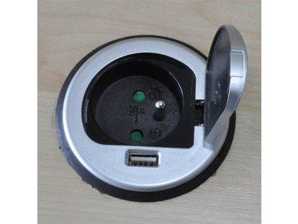 Solight PP122 vestavná zásuvka, 1x 230V + 1x USB stříbrná