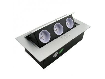 FK technics Výklopná zásuvka 3x230V, vestavná, stříbrná