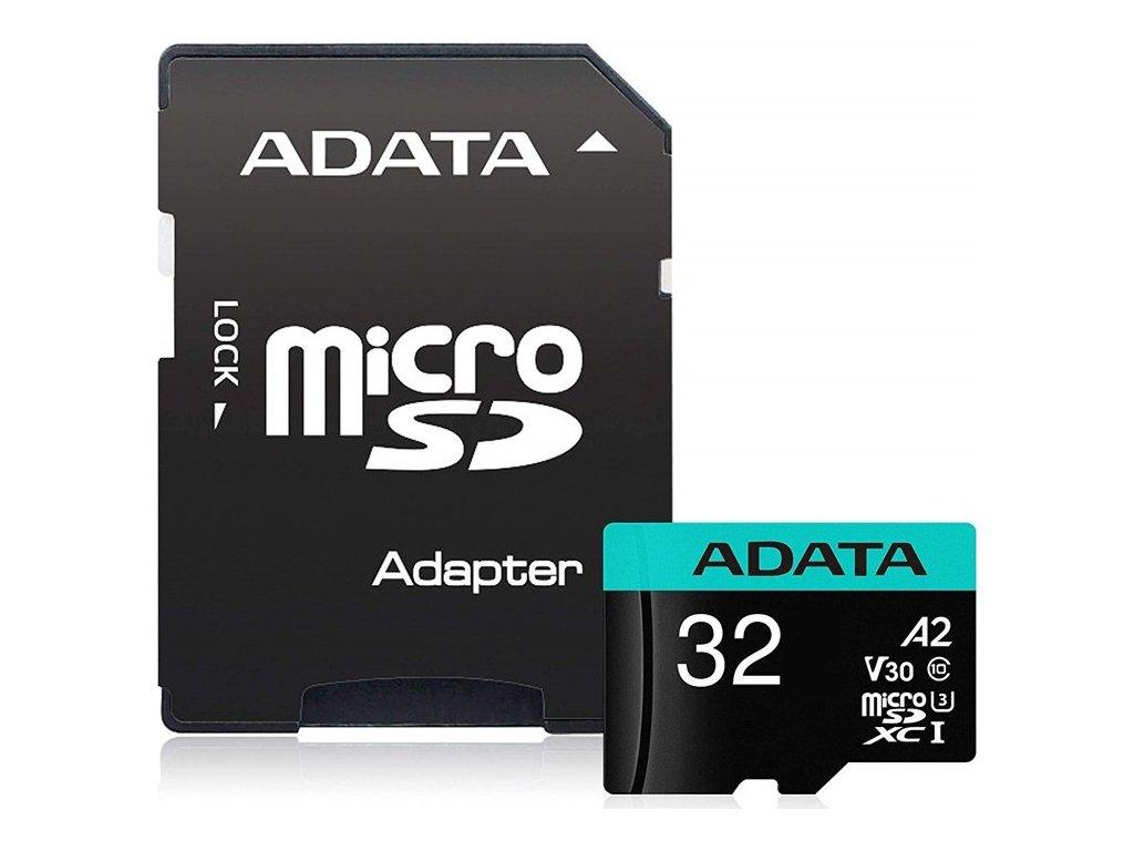 Paměťová karta ADATA Premier Pro MicroSDHC 32GB (100R/80W) + adaptér
