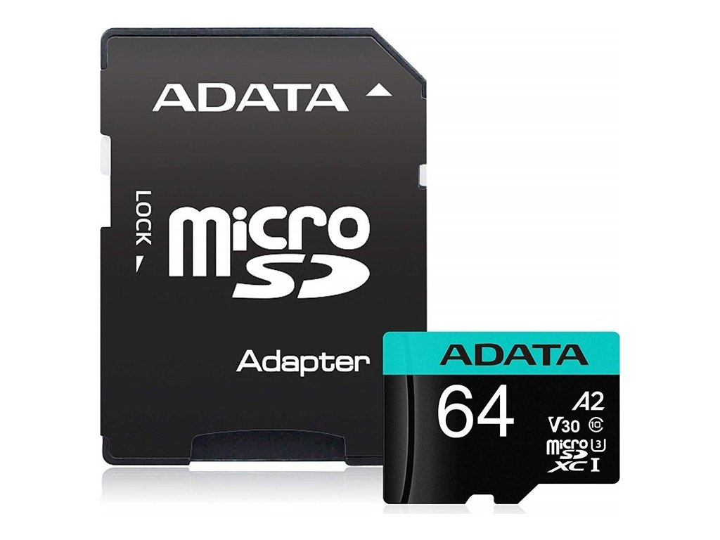 Paměťová karta ADATA Premier Pro MicroSDXC 64GB (100R/80W) + adaptér