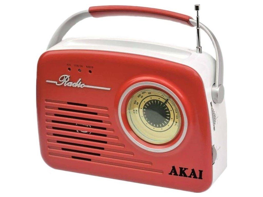 Radiopřijímač AKAI APR-11, červený