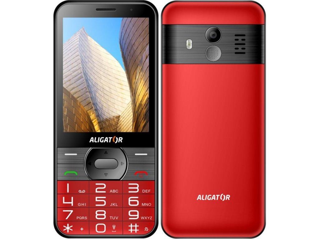 Mobilní telefon Aligator A900 Senior + nabíjecí stojánek - červený