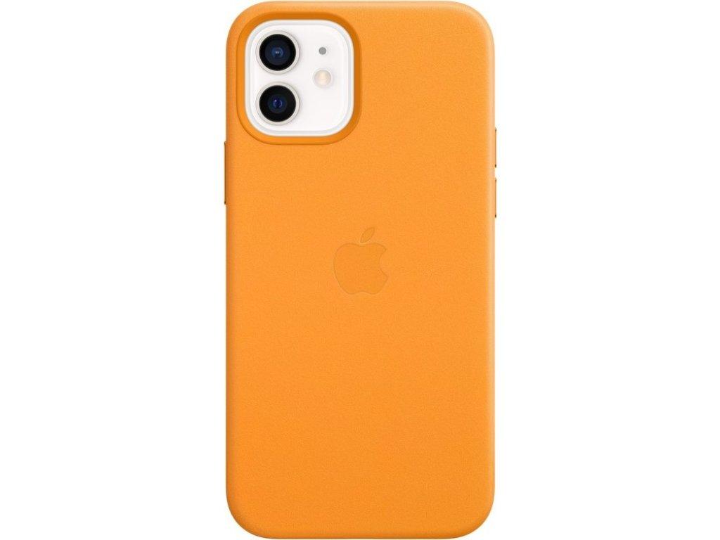 Kryt na mobil Apple Leather Case s MagSafe pro iPhone 12 mini - měsíčkově oranžový