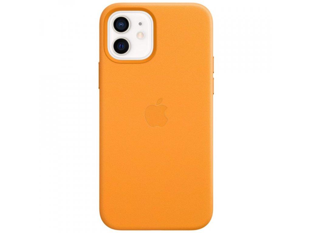 Kryt na mobil Apple Leather Case s MagSafe pro iPhone 12 a 12 Pro - měsíčkově oranžový