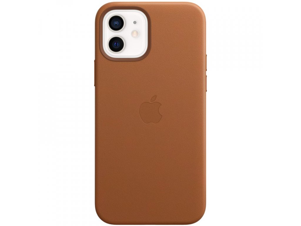 Kryt na mobil Apple Leather Case s MagSafe pro iPhone 12 a 12 Pro - sedlově hnědý