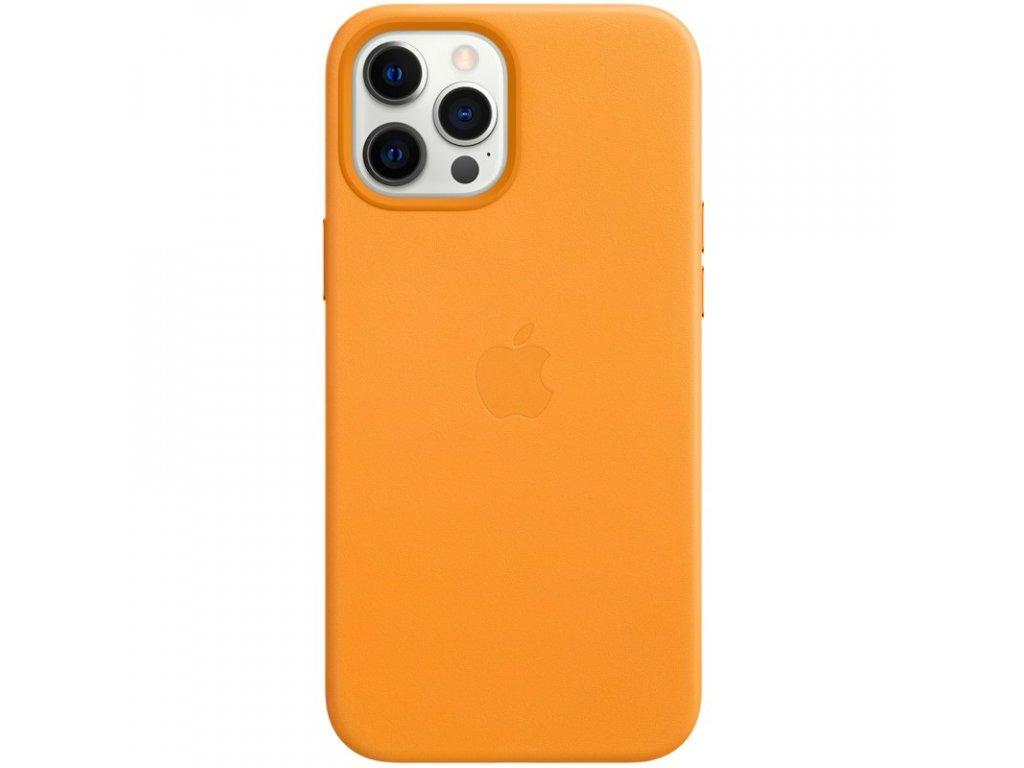 Kryt na mobil Apple Leather Case s MagSafe pro iPhone 12 Pro Max - měsíčkově oranžový