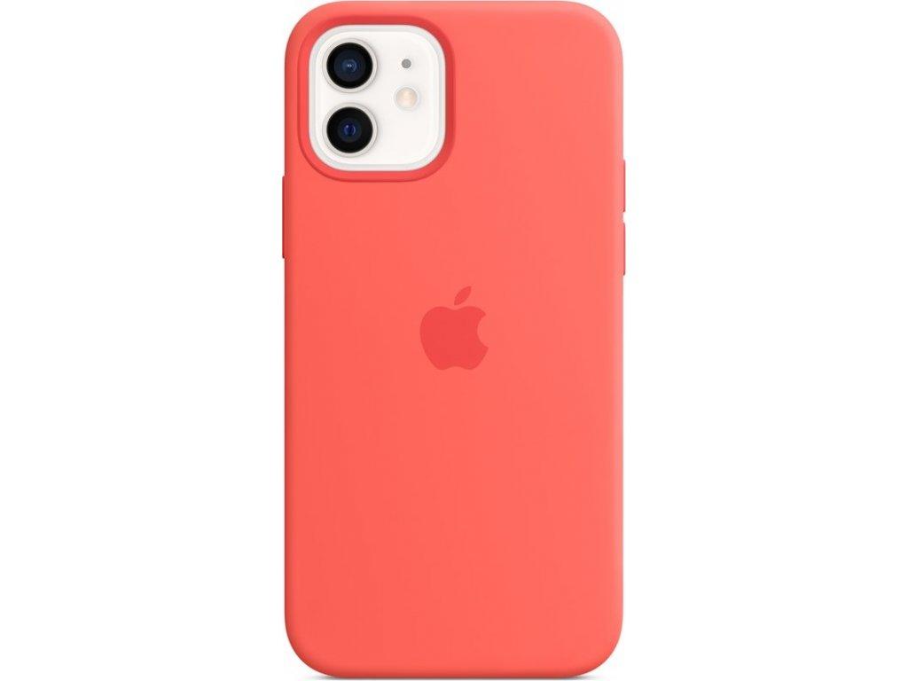 Kryt na mobil Apple Silicone Case s MagSafe pro iPhone 12 a 12 Pro - citrusově růžový