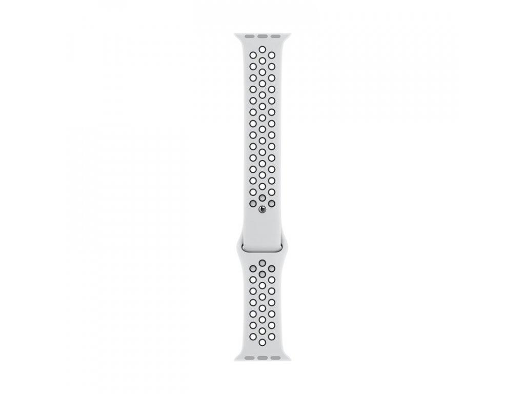 Řemínek Apple Watch 44mm Pure Platinum/Black Nike Sport Band - S/M & M/L
