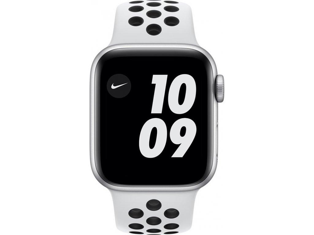 Chytré hodinky Apple Watch Nike SE GPS 44mm pouzdro ze stříbrného hliníku - platinový/černý sportovní náramek Nike