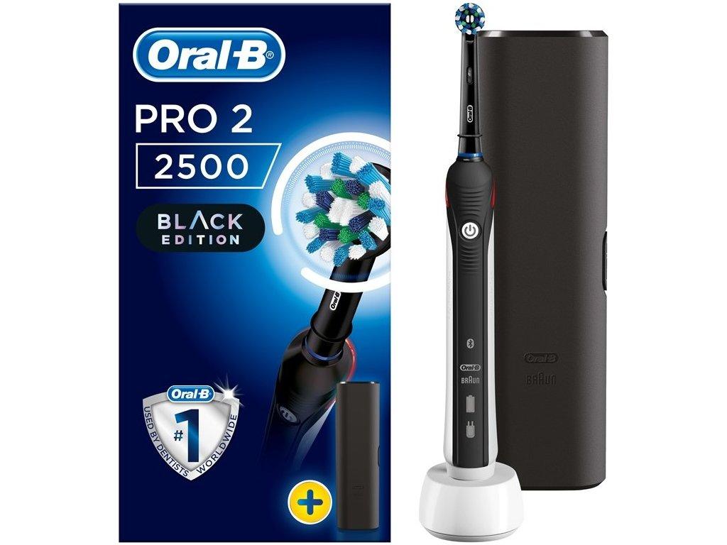 Zubní kartáček Oral-B PRO 2500 Black Cross Action + cestovní pouzdro