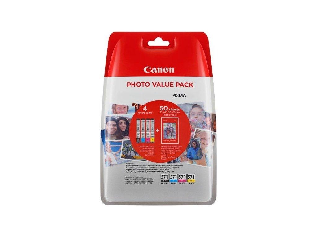 Inkoustová náplň Canon CLI-571 XL PHOTO VALUE Pack, CMYK originální