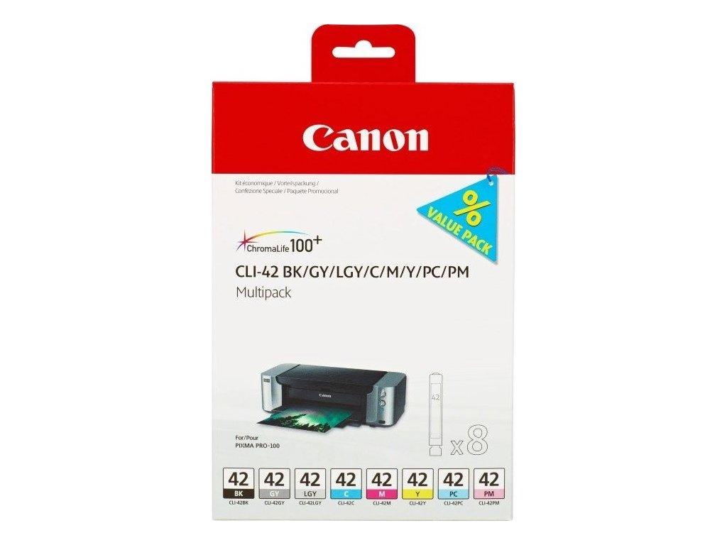 Inkoustová náplň Canon CLI-42 Multi Pack originální - černá/šedá/červená/modrá/žlutá