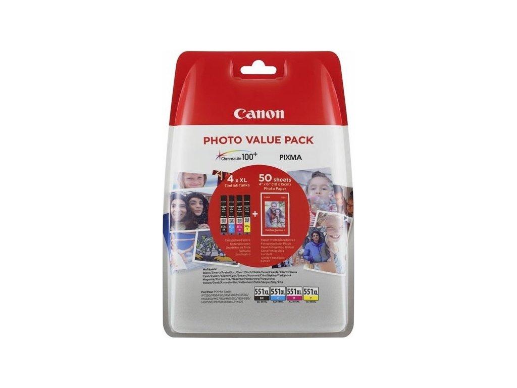 Inkoustová náplň Canon CLI-551 XL Photo Value Pack, CMYK, originální