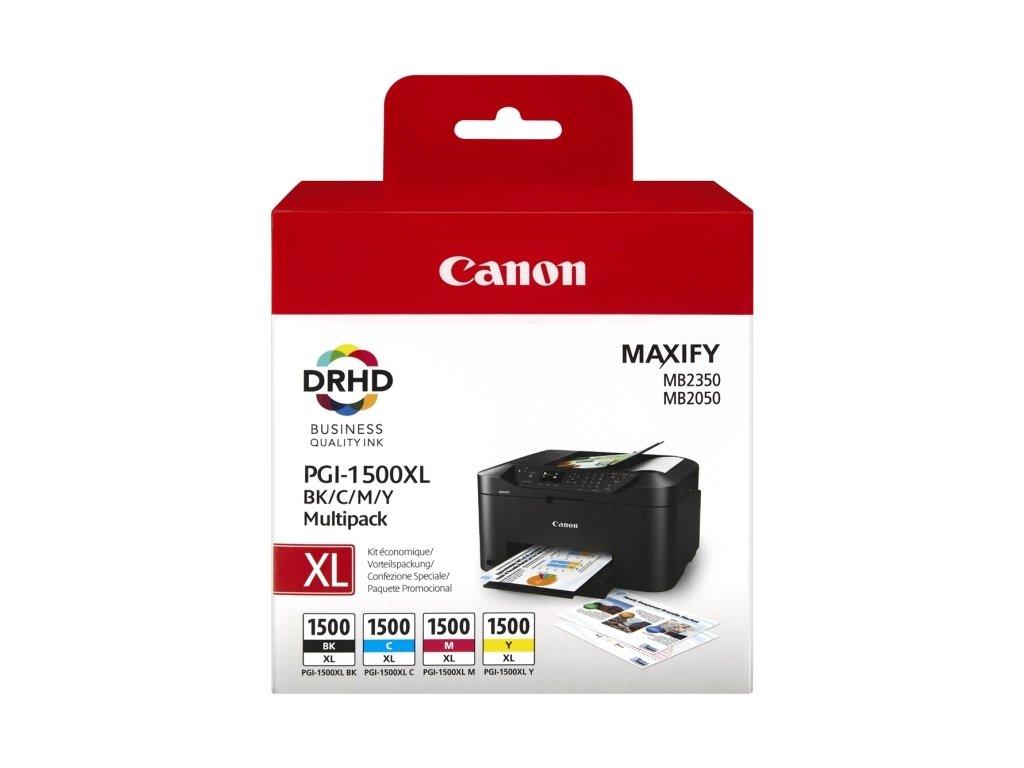 Inkoustová náplň Canon PGI-1500XL, 1200/935 stran, BK/C/M/Y, originální