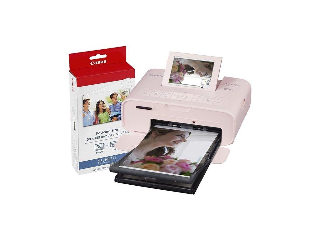 Fototiskárna Canon CP1300 Selphy + papíry KP-36, růžová